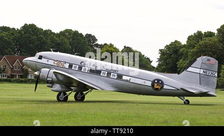 """Douglas C-53 Skytrooper """"The Spirit of Benovia"""" at Shuttleworth Air Festival to commemorate the 75th anniversary of D-Day - Stock Photo"""