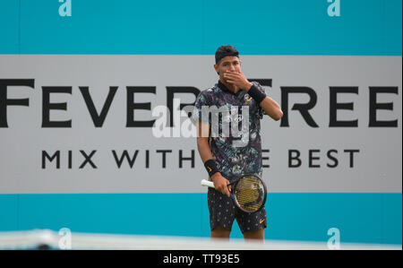 London, UK. 15th June, 2019. Alexei Popyrin of Australia during the qualifying rounds of tennis at The Fever-Tree Championships at The Queen's Club, London, England on 15 June 2019. Photo by Andy Rowland. Credit: PRiME Media Images/Alamy Live News - Stock Photo