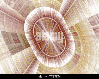 Mysterious sci fl tunnel with light at the end (3d illustration). Interplay of digital symbols and abstract forms on the subject of artificial intelli - Stock Photo