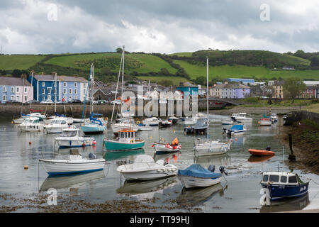 The picturesque harbour and charming Georgian town of Aberaeron on the Cardigan Bay coast in Ceredigion, Wales, UK - Stock Photo