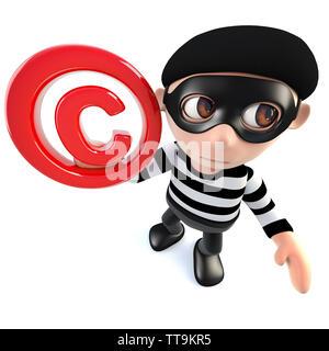 3d render of a funny cartoon burglar thief character holding a copyright symbol - Stock Photo