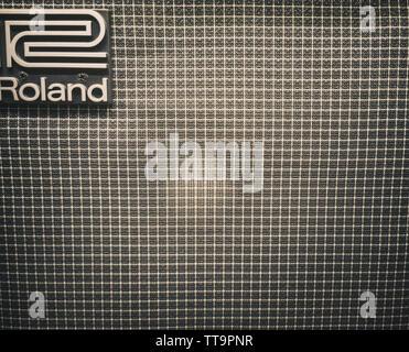 rock guitar amps close up texture pattern - Stock Photo