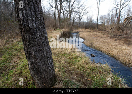 United States; Jan. 2, 2015: The Shearman's Mill Trail is a 1.0 mile, easy loop trail that starts near the barn on the parklands east of Rt. 17. This - Stock Photo