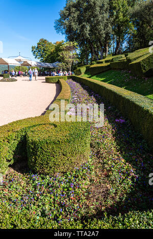 Gardens of the Chateau de Marqueyssac in the historic Perigord region of France - Stock Photo