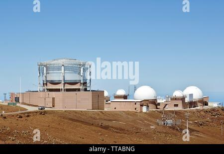 Maui space surveillance complex used by the US air force to track and identify all man-made objects in space - Stock Photo
