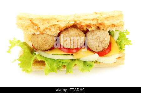 Homemade Spicy Meatball Sub Sandwich isolated on white - Stock Photo