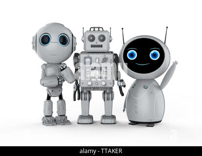 3d rendering group of friendly robots on white background - Stock Photo