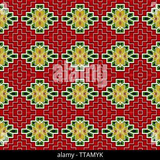 Textile Print Mughal Art miniature manual illustrated artwork - Stock Photo