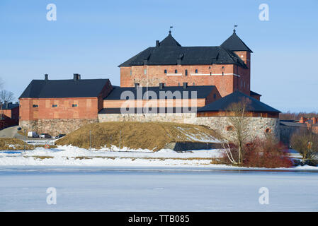 The ancient fortress of the Hameenlinna city close-up on a sunny March day. Finland - Stock Photo