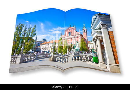 The famous 'Triple Bridge' on Ljubljana (Slovenia - Europe) - People are not recognizable. 3D render of an opened photo book isolated on white - I'm t - Stock Photo