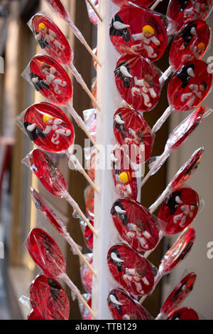 Group of packed colorful round lollipops of San Fermin festivities, Pamplona, Navarra, Spain,Europe - Stock Photo