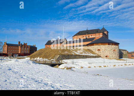 The ancient fortress of the Hameenlinna city, close-up on a sunny March morning. Finland - Stock Photo