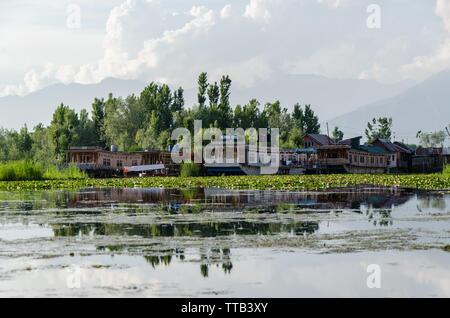 House boats on Dal Lake, Srinagar, Jammu and Kashmir, India - Stock Photo