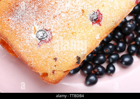 Freshly baked cake with black currants in pink plate, closeup - Stock Photo