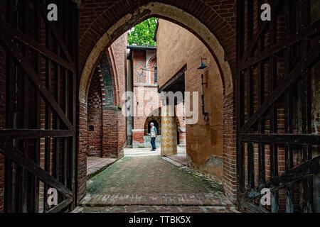 Italy Piedmont Turin Valentino park - Borgo Medievale - entrance - Stock Photo