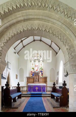 St Mary Magdelene Church, Tormarton, South Gloucestershire, UK  Grade I listed Norman Church - Stock Photo