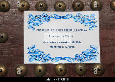 Spain, Andalusia, Cadiz, Nuestra Senora de la Palma Church, - Stock Photo
