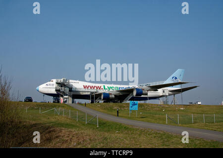 Old Boeing 747 jumbo jet used as a transit hotel and conference centre, Arlanda airport, Stockholm, Sweden - Stock Photo