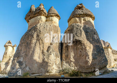 turkey kapadokya located under the name of Simon Paşabağları other natural volcanic formations in the valley. - Stock Photo