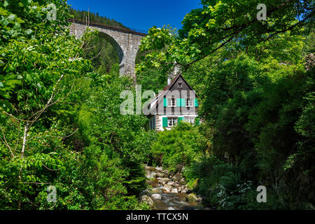 lonely house in the Hoellental near Freiburg, Black Forest, Germany - Stock Photo