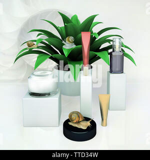 Giant Achatina snail and cosmetic products on gray background. - Stock Photo