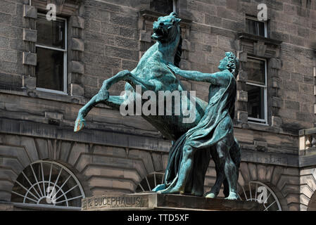 The statue of Alexander the Great and his horse Bucephalus in the courtyard of the Edinburgh City Chambers in Old Town of Edinburgh. - Stock Photo