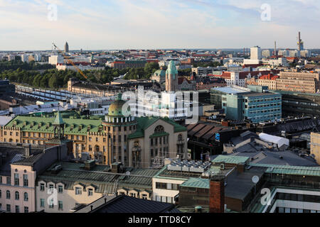 Aerial view over Helsinki from Ateljee Bar at the top of Hotel Torni - Stock Photo