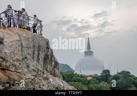 Aradhana Gala and Maha Stupa in Mihintale, Anuradhapura, Sri Lanka - Stock Photo