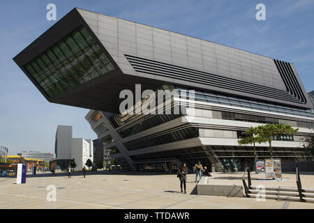 Library and Learning Centre of the Vienna University of Economics and Business (Wirtschaftsuniversität Wien) designed by the Zaha Hadid Architects (2013) in Vienna, Austria. - Stock Photo