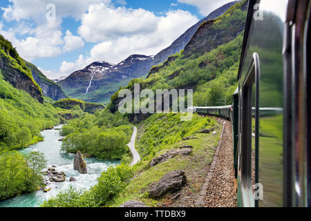 View from the Flam Railway (Flåmsbana), a scenic train which runs betwen Flåm and Myrdal, Aurland, Sogn og Fjordane, Norway - Stock Photo
