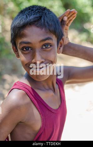 Portrait of a Young Sinhalese Boy, Ella, Sri Lanka - Stock Photo