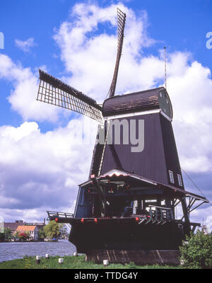 The Windmills of Kinderdijk, Kinderdijk, Zuid-Holland, Kingdom of the Netherlands - Stock Photo