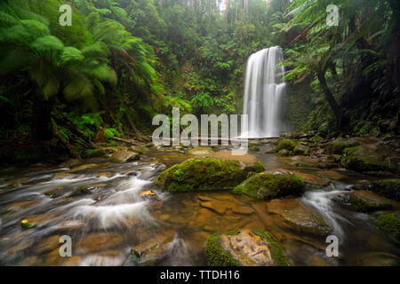 Beauchamp Falls a waterfall in the Otway National Park near the Great Ocean Road in Victoria, Australia - Stock Photo