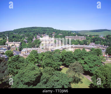 Aerial view of town showing Devonshire Dome and Buxton Crescent, Buxton, Derbyshire, England, United Kingdom - Stock Photo