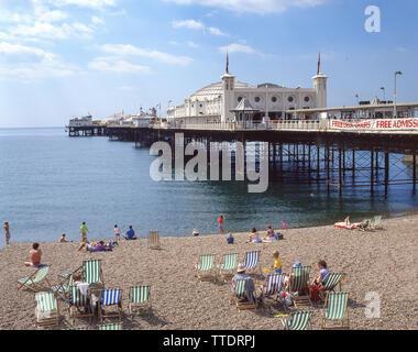 Brighton Beach and Pier, Brighton, East Sussex, England, United Kingdombusy - Stock Photo