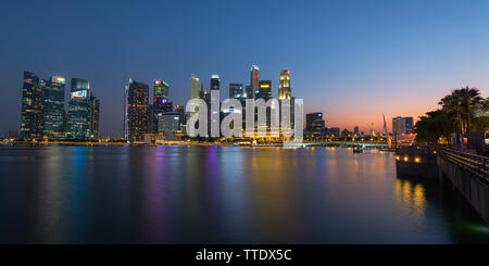 This Singapore night skyline was taken from the Marina Bay - Stock Photo