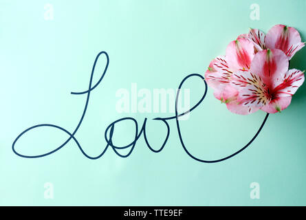 Inscription love with pink flowers on green background - Stock Photo