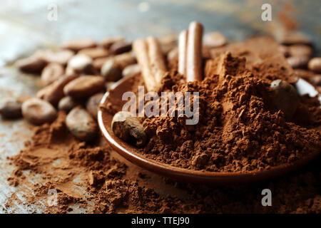 Aromatic cocoa and chocolate, close up - Stock Photo