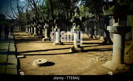 Stone lanterns of Toshogu Shrine in Ueno Park, Tokyo. - Stock Photo