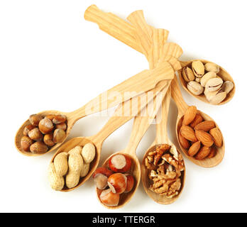 Wooden spoons with hazelnuts, walnuts, pistachios, almonds, acorns and peanuts, isolated on white - Stock Photo