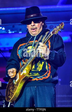 Carlos Santana performing on stage at the BottleRock Festival 2019, Napa Valley, Califonia, - Stock Photo