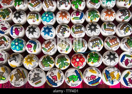 Uyuni, Bolivia-Dec 31, 2018: Traditional handcrafts souvenirs on the market in main street of Uyuni,  Bolivia. - Stock Photo