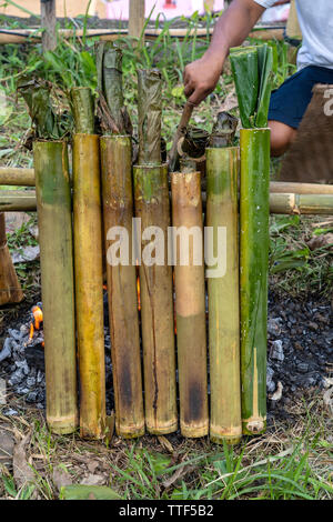 Burning bamboo rice in traditional cooking, asian food. Ubud, island Bali, Indonesia . Close up. Burned sticky rice with sweet coconut milk in bamboo - Stock Photo