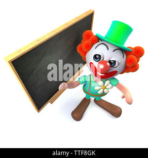 3d render of a funny cartoon clown character standing at a blackboard - Stock Photo