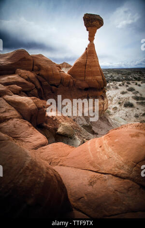A Toadstool formation in the Grand Escalante National Monument - Stock Photo