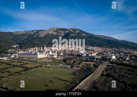 Aerial view of the Monastery of El Escorial_Madrid_Spain - Stock Photo
