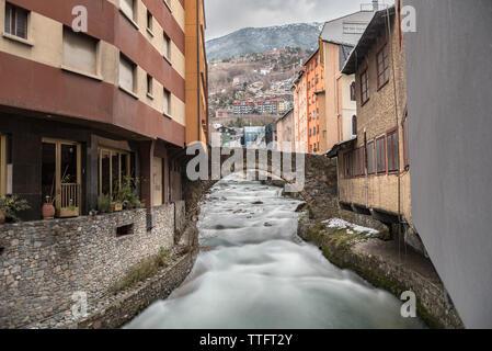 ESCALDES-ENGORDANY, ANDORRA - February 1: River Valira on Engordany Br - Stock Photo