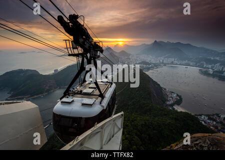 Beautiful sunset view from Sugar Loaf mountain, Rio de Janeiro, - Stock Photo