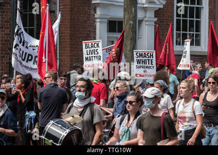 Unite the Riot Rally Activists Protesting in Street August 12 , 2017 - Stock Photo