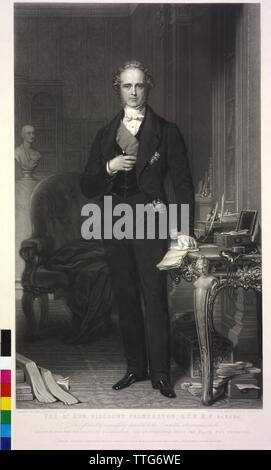 Temple, 3rd viscount Palmerston, Henry John, mezzotint by Samuel cousins based on a painting by John Partridge, Additional-Rights-Clearance-Info-Not-Available - Stock Photo